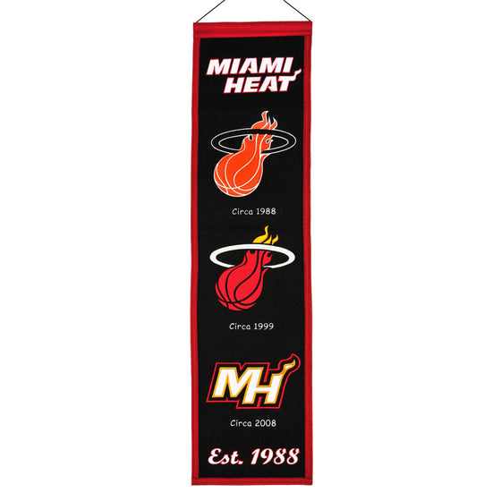 NBA, Miami Heat, Banners - Narrow, Embroidered Banner, Officially licensed banner, Miami Heat gift