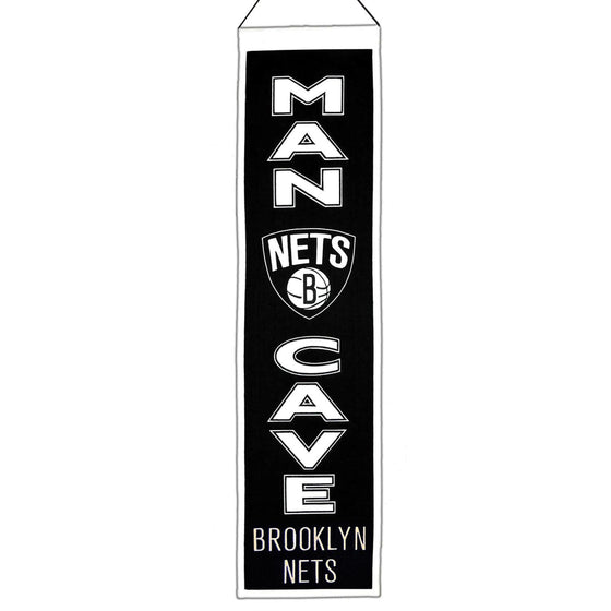 NBA, Brooklyn Nets, Banners - Narrow, Embroidered Banner, Officially licensed banner, Brooklyn Nets gift