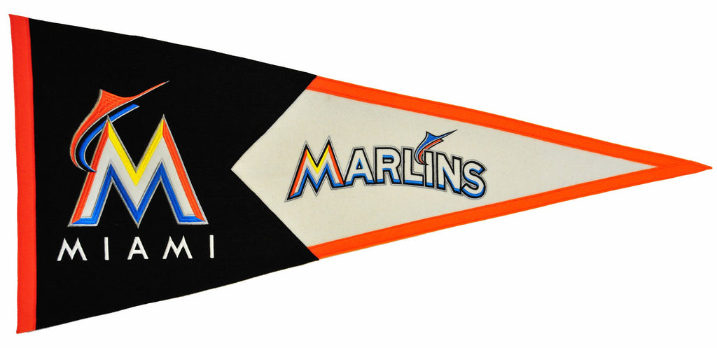 MLB, Miami Marlins, Pennants - Horizontal, Embroidered Pennant, Officially licensed pennant, Miami Marlins gift