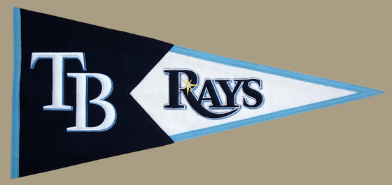 MLB, Tampa Bay Rays, Pennants - Horizontal, Embroidered Pennant, Officially licensed pennant, Tampa Bay Rays gift