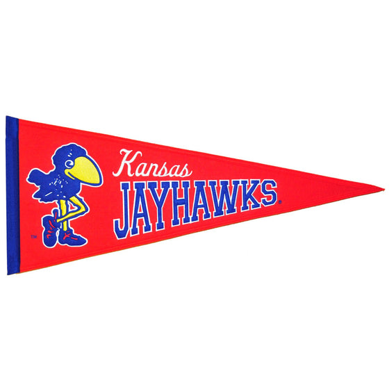 NCAA, Kansas, Pennants - Horizontal, Embroidered Pennant, Officially licensed pennant, Kansas gift