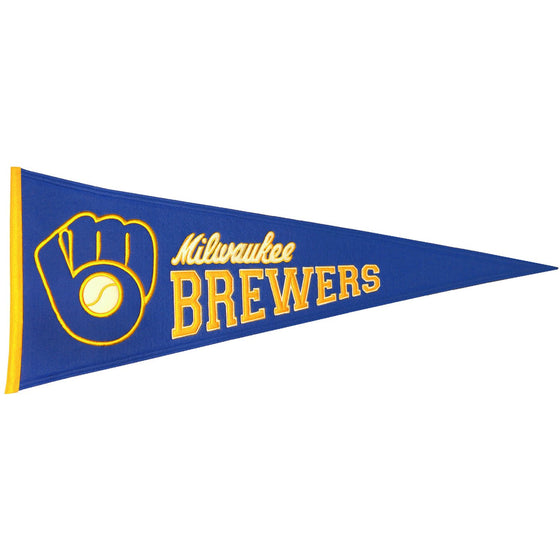 MLB, Milwaukee Brewers, Pennants - Horizontal, Embroidered Pennant, Officially licensed pennant, Milwaukee Brewers gift