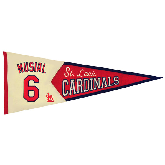 MLB, St. Louis Cardinals, Stan Musial, Pennants - Horizontal, Embroidered Pennant, Officially licensed pennant, St. Louis Cardinals gift