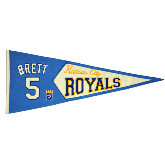 MLB, Kansas City Royals, George Brett, Pennants - Horizontal, Embroidered Pennant, Officially licensed pennant, Kansas City Royals gift