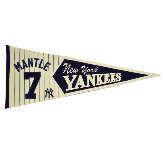 MLB, New York Yankees, Mickey Mantle, Pennants - Horizontal, Embroidered Pennant, Officially licensed pennant, New York Yankees gift