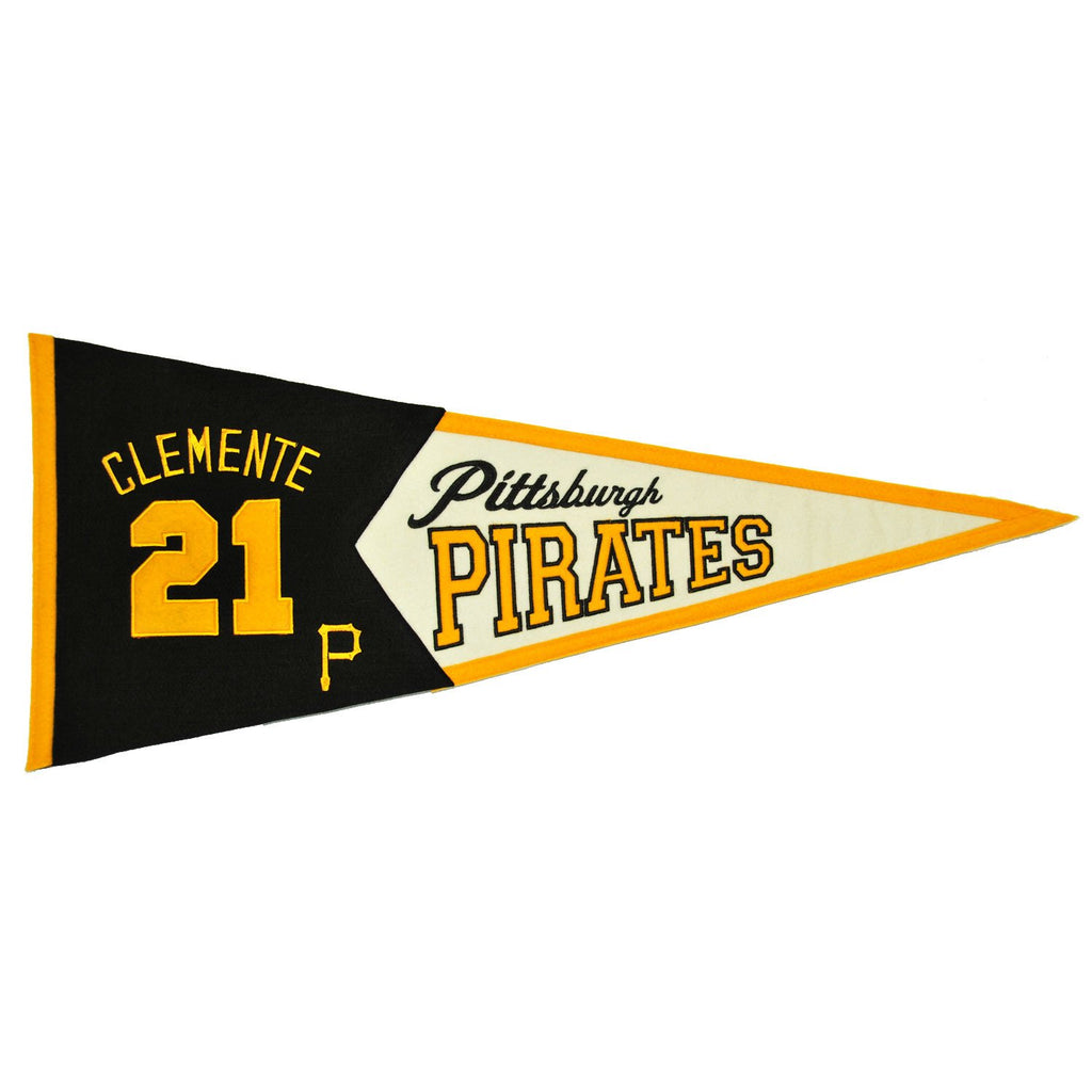 MLB, Pittsburgh Pirates, Roberto Clemente, Pennants - Horizontal, Embroidered Pennant, Officially licensed pennant, Pittsburgh Pirates gift
