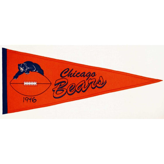 NFL, Chicago Bears, Pennants - Horizontal, Embroidered Pennant, Officially licensed pennant, Chicago Bears gift