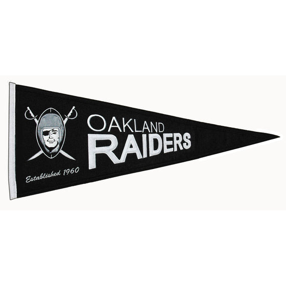 NFL, Oakland Raiders, Pennants - Horizontal, Embroidered Pennant, Officially licensed pennant, Oakland Raiders gift