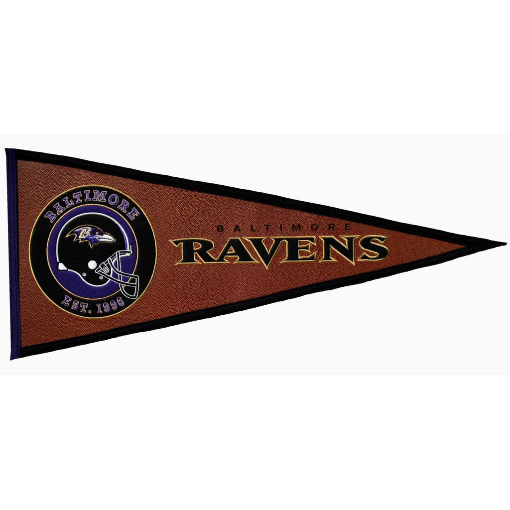 NFL, Baltimore Ravens, Pennants - Horizontal, Embroidered Pennant, Officially licensed pennant, Baltimore Ravens gift