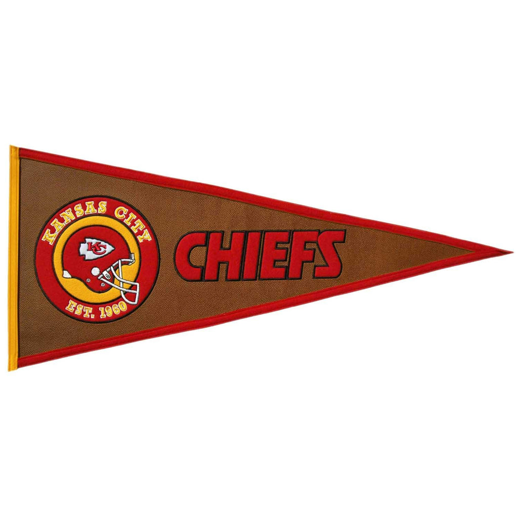 NFL, Kansas City Chiefs, Pennants - Horizontal, Embroidered Pennant, Officially licensed pennant, Kansas City Chiefs gift