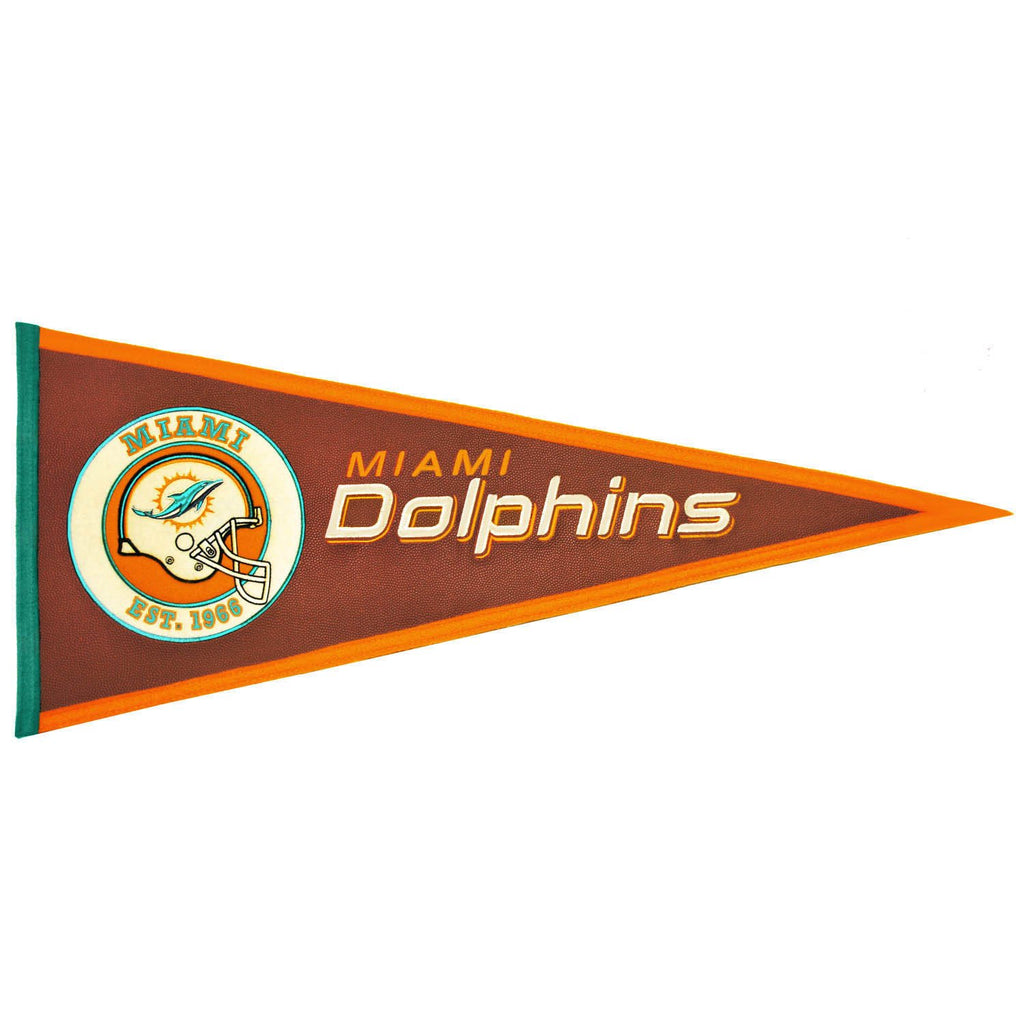 NFL, Miami Dolphins, Pennants - Horizontal, Embroidered Pennant, Officially licensed pennant, Miami Dolphins gift