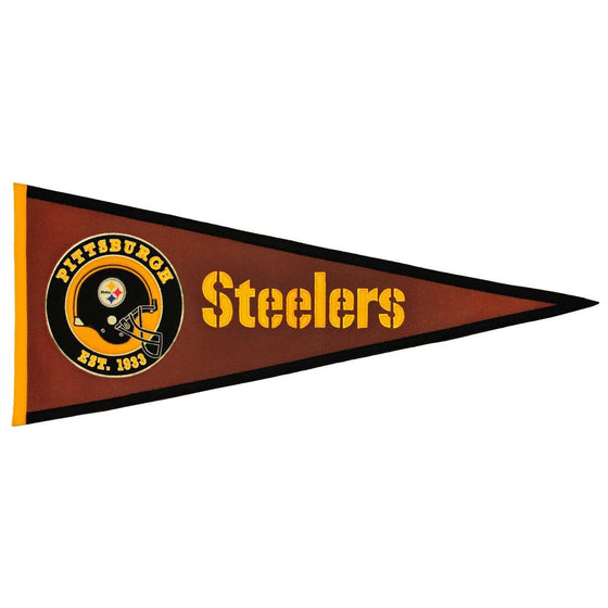 NFL, Pittsburgh Steelers, Pennants - Horizontal, Embroidered Pennant, Officially licensed pennant, Pittsburgh Steelers gift