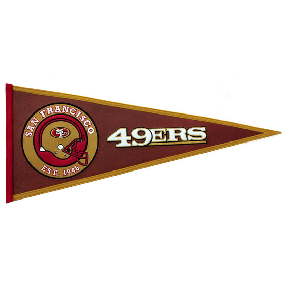 NFL, San Francisco 49ers, Pennants - Horizontal, Embroidered Pennant, Officially licensed pennant, San Francisco 49ers gift