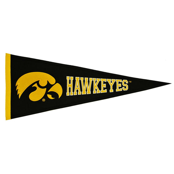 NCAA, Iowa, Pennants - Horizontal, Embroidered Pennant, Officially licensed pennant, Iowa gift