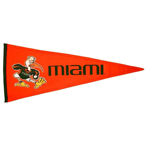 NCAA, Miami, Pennants - Horizontal, Embroidered Pennant, Officially licensed pennant, Miami gift