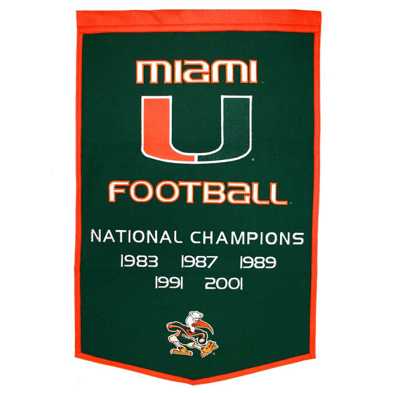 NCAA, Miami, Banners, Embroidered Banner, Officially licensed banner, Miami gift