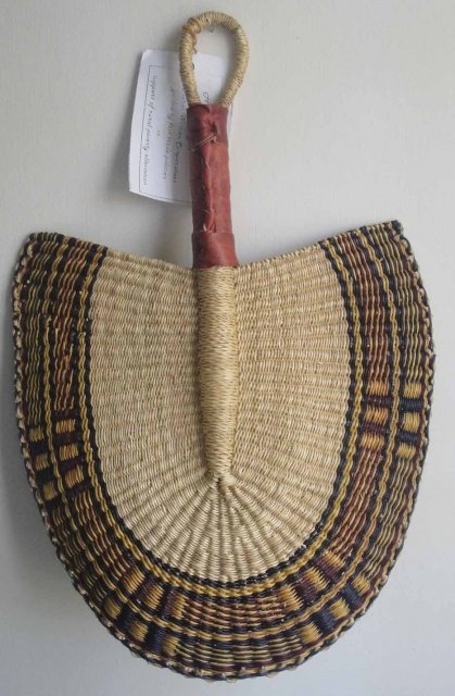 Bolgatanga Fan - Grass and Leather