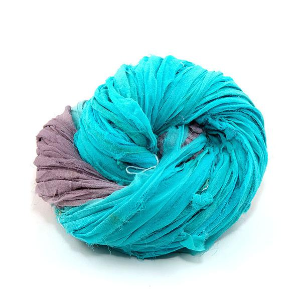 DGY -Silk Chiffon Ribbon - Teal and Grey