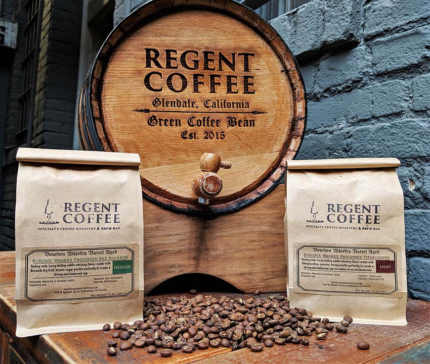 Regent Coffee's Bourbon Barrel Aged Coffee Beans