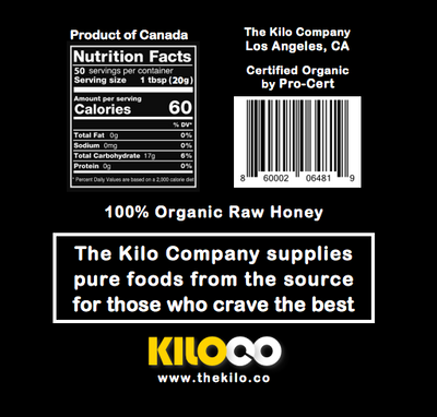 One Kilo of Organic Raw Honey Nutrition Facts