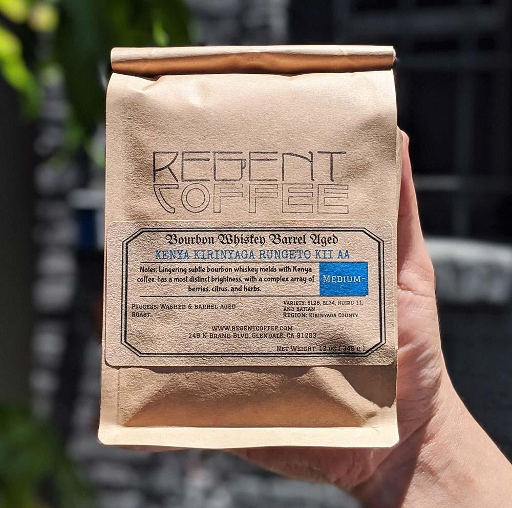 Bourbon Barrel Aged Coffee Bag - Kenya Kirinyaga Rungeto (12 oz) - Regent Coffee Roaster Glendale California