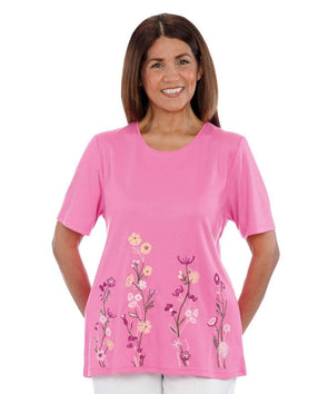 Floral Embroidered Open-Back Tunic Top For Women - Women's Wonderful Adaptive Top