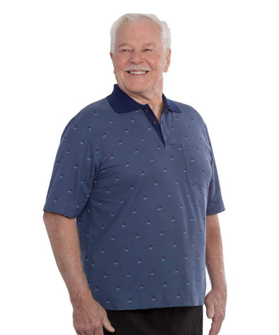 Mens Adaptive Polo Shirt - Open Back - Nursing Home Clothing