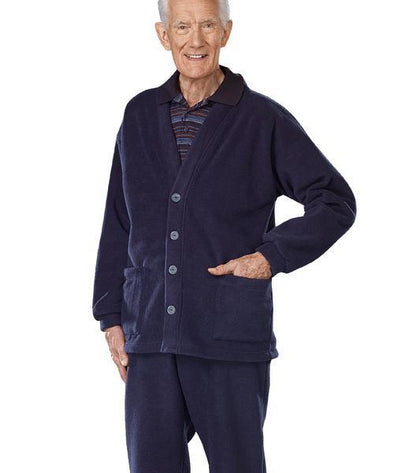 Adaptive Fleece Cardigan With 2 Pockets - Snap Back - Adaptive Clothing Canada