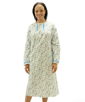 Long Sleeve- Open Back Flannel Hospital Gowns For Women - Adaptive Clothing Canada