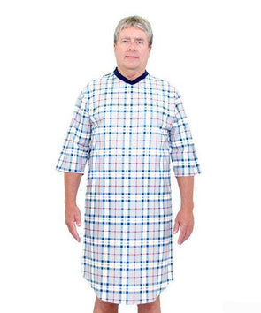 Adaptive Men's  Flannel  Hospital Patient Gowns -Open Back Snap - Adaptive Clothing Canada