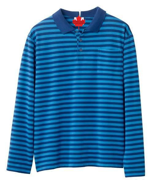 Adaptive  Men's Open Back Long Sleeve Polo Shirts - Fits Up To 4 XL - Adaptive Clothing Canada