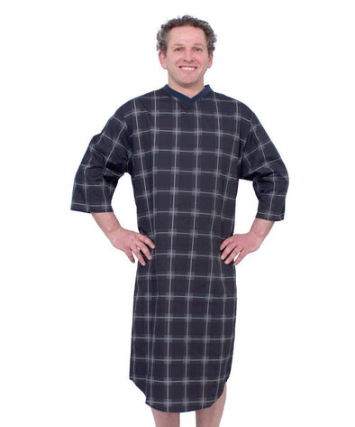 Adaptive Men's Open Back Snap Cotton   Hospital Patient Gowns - - Adaptive Clothing Canada