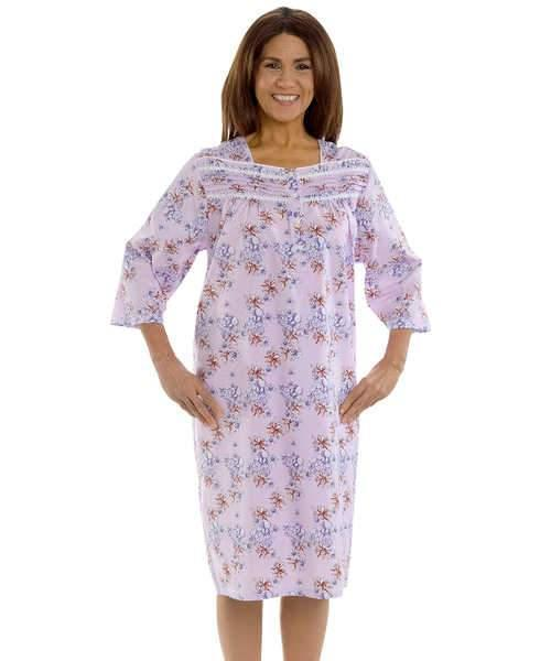Open Back Cotton Hospital Nightgown - 3/ 4 Long Sleeve Hospital Gowns For Women - Adaptive Clothing Canada
