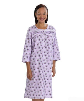 Women's Pretty Flannel Open Back Long Sleeve Hospital Patient Gowns - Adaptive Clothing Canada