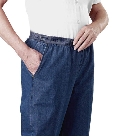 Arthritis Elastic Waist Pull On Jean Pants For Women With 2 Pockets - Clothing For Mature Women