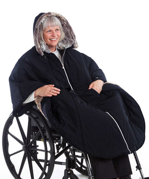 Wheelchair Winter Adaptive Cape For Women - Luxurious Fur-Lined - Adaptive Clothing Canada