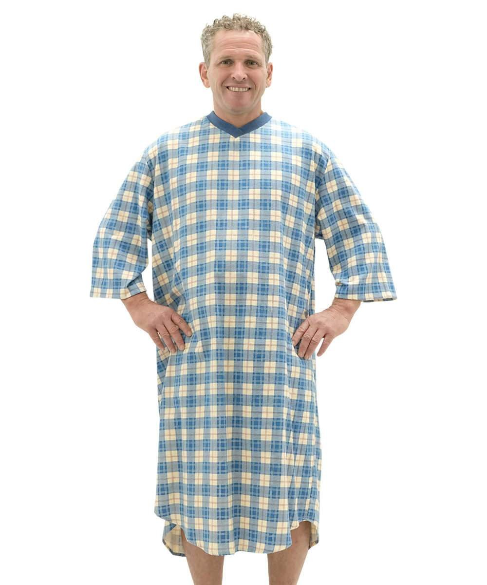 Adaptive Men\'s Flannel Hospital Patient Gowns -Open Back Snap ...