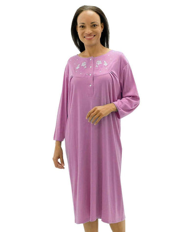 Women's Cotton Knit Snap Open Back Hospital Patient Gown - Adaptive Clothing Canada