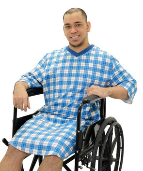 Men's Flannel Back Snap Hospital Patient Gowns - Adaptive Open Back Night Gowns - Adaptive Clothing Canada