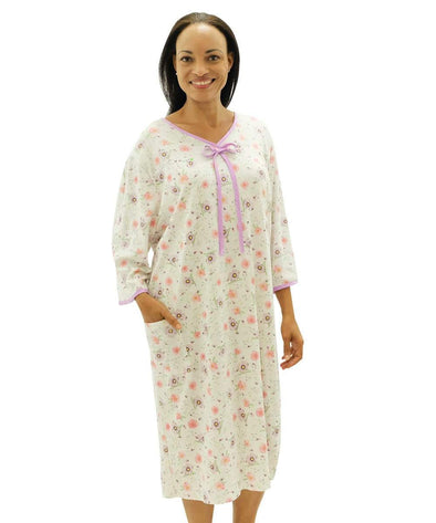Women's Hospital Gowns Soft Cotton Knit Adaptive Pattern  - Open Back  Snap Night Gown - Adaptive Clothing Canada