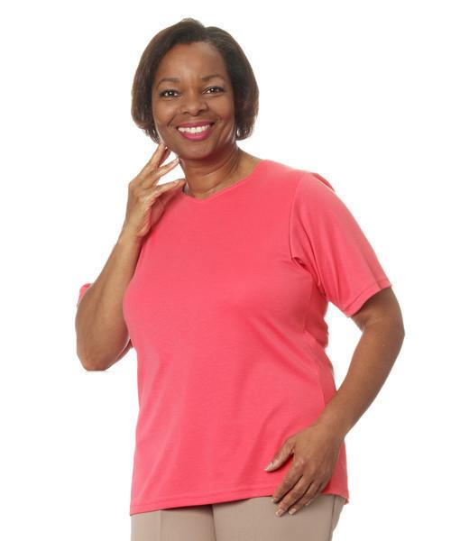 Adaptive Women s Back Snap Solid Color T Shirt - Home Care Apparel ... 645a65047