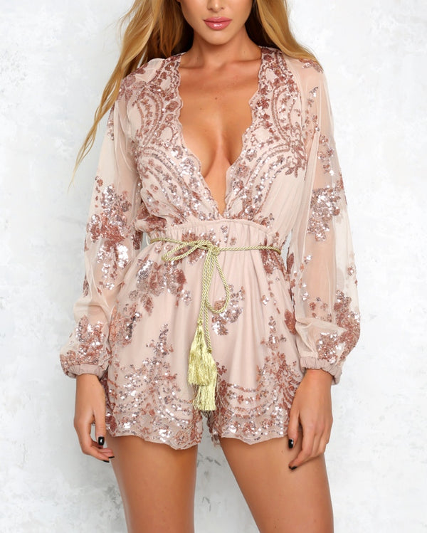 Full House Sequined Embroidery Playsuit - Beige | Flirtyfull.com
