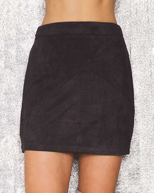 Barbie Suede High Waisted Skirt - Black | Flirtyfull.com
