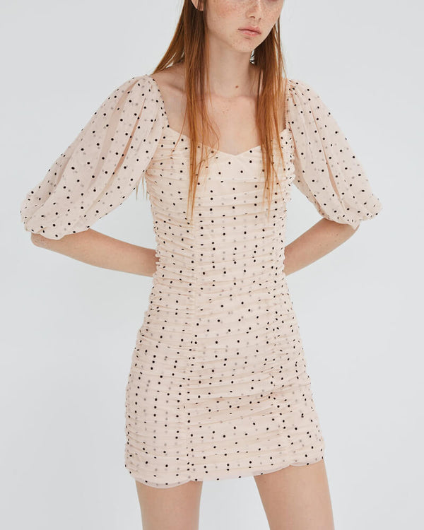 ADELE Polka Dot Mesh Bodycon Dress | Flirtyfull.com