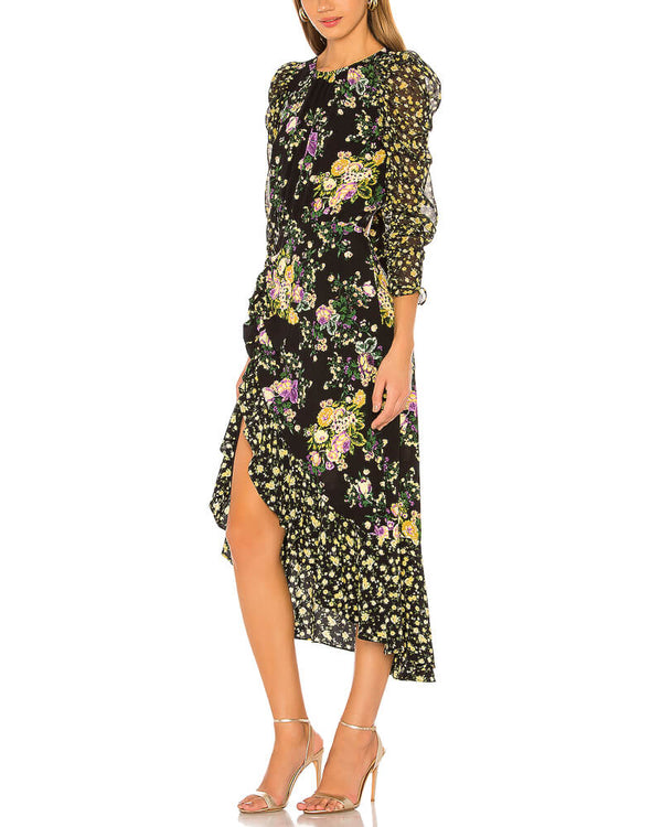 Adore Hollow Out Asymmetrical Floral Black Dress | Flirtyfull.com