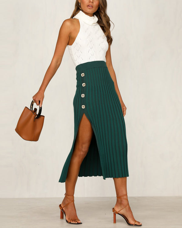 Amanda Bodycon Knitted Skirt - Green | Flirtyfull.com