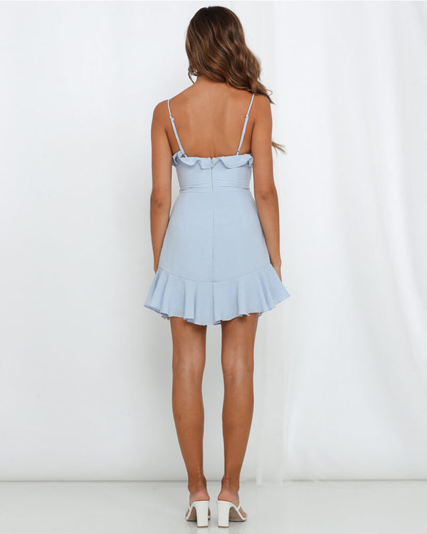 Antonia Bow Mini Dress with Ruffles - Light Blue | Flirtyfull.com