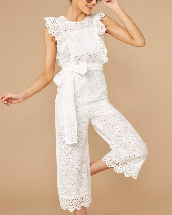 As Good As New Hollow Out Jumpsuit - White | Flirtyfull.com