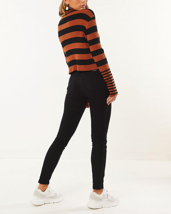 Atlanta Colorblock Stripe Turtleneck Sweater - Brown | Flirtyfull.com