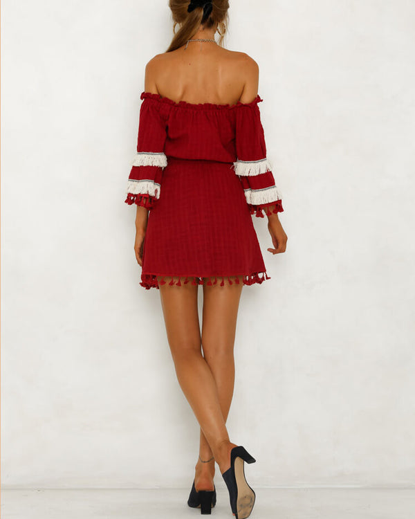 Bang Bang Belted Tassel Boho Dress - Burgundy | Flirtyfull.com
